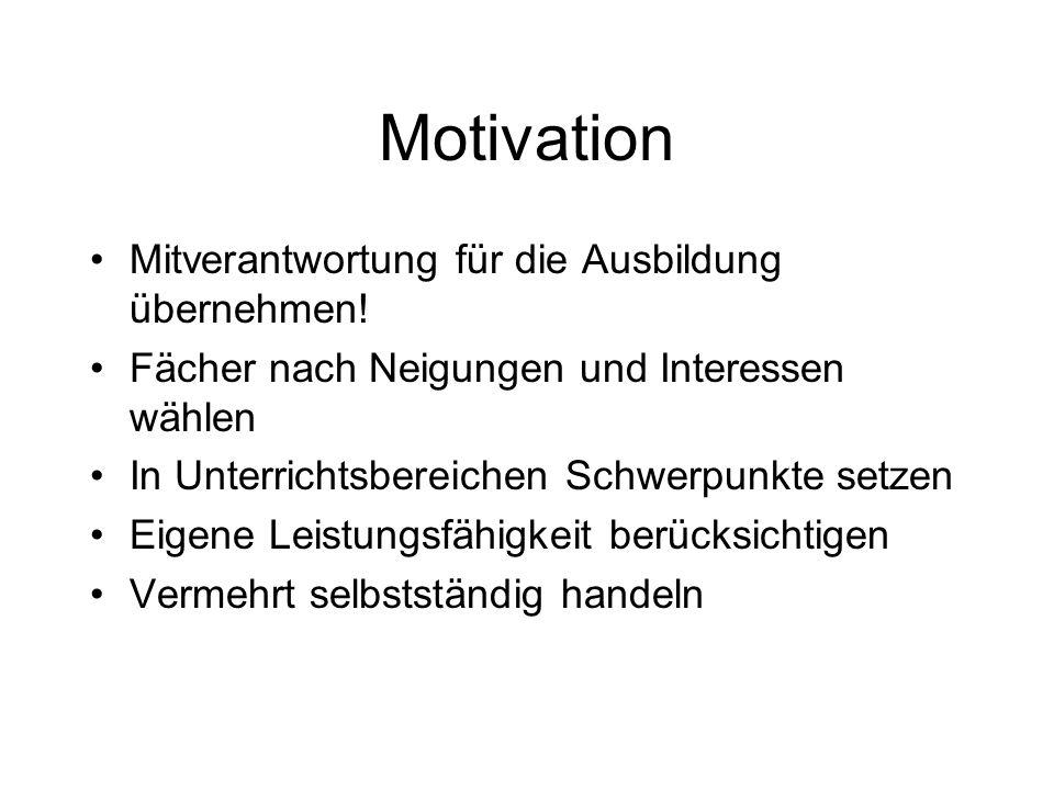 Motivation Mitverantwortung für die Ausbildung übernehmen.