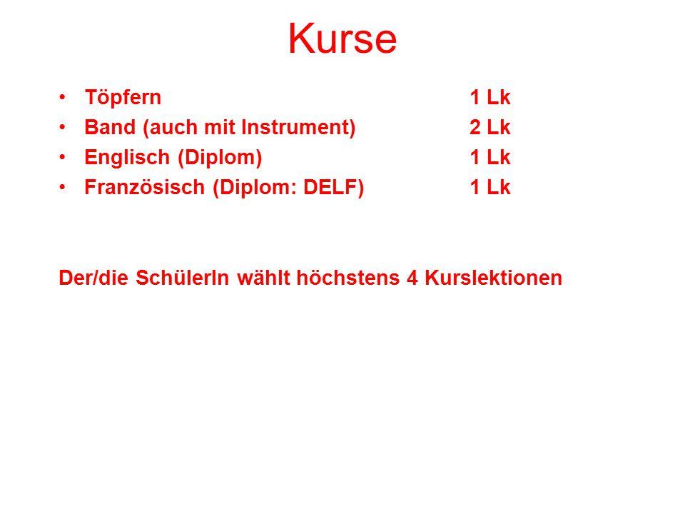 Kurse Töpfern1 Lk Band (auch mit Instrument)2 Lk Englisch (Diplom)1 Lk Französisch (Diplom: DELF)1 Lk Der/die SchülerIn wählt höchstens 4 Kurslektionen