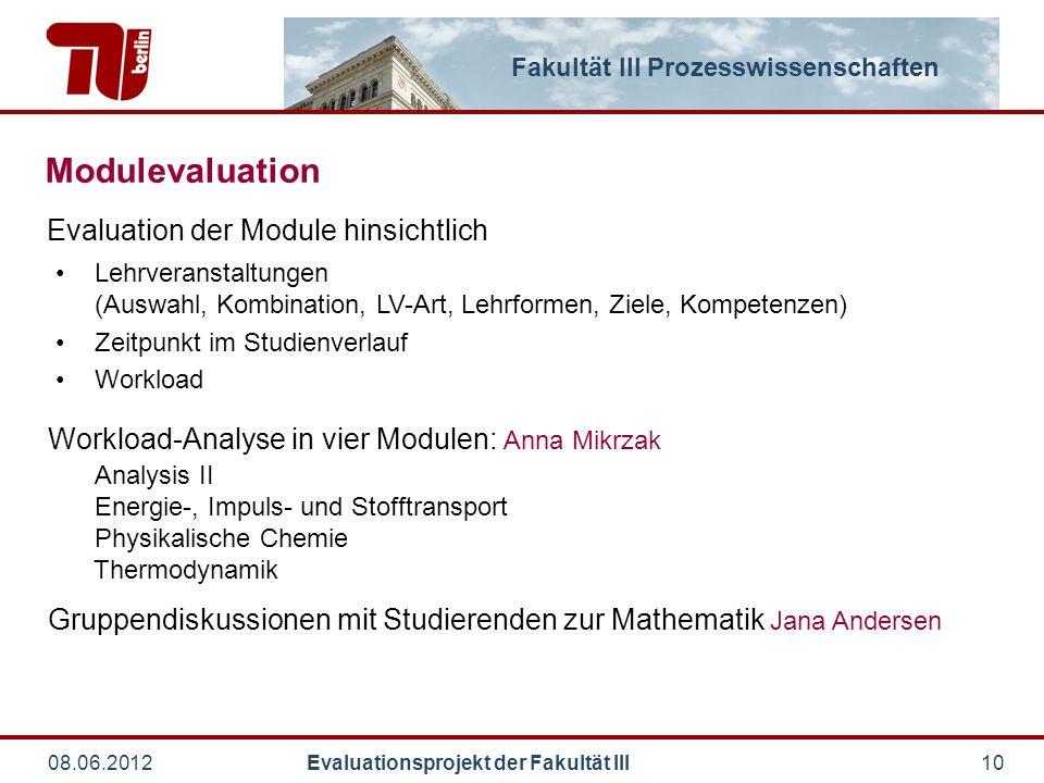Fakultät III Prozesswissenschaften 08.06.2012 Evaluationsprojekt der Fakultät III10 Modulevaluation Workload-Analyse in vier Modulen: Anna Mikrzak Ana