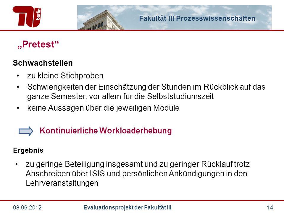 """Fakultät III Prozesswissenschaften 08.06.2012 Evaluationsprojekt der Fakultät III14 """"Pretest"""" zu kleine Stichproben Schwierigkeiten der Einschätzung d"""