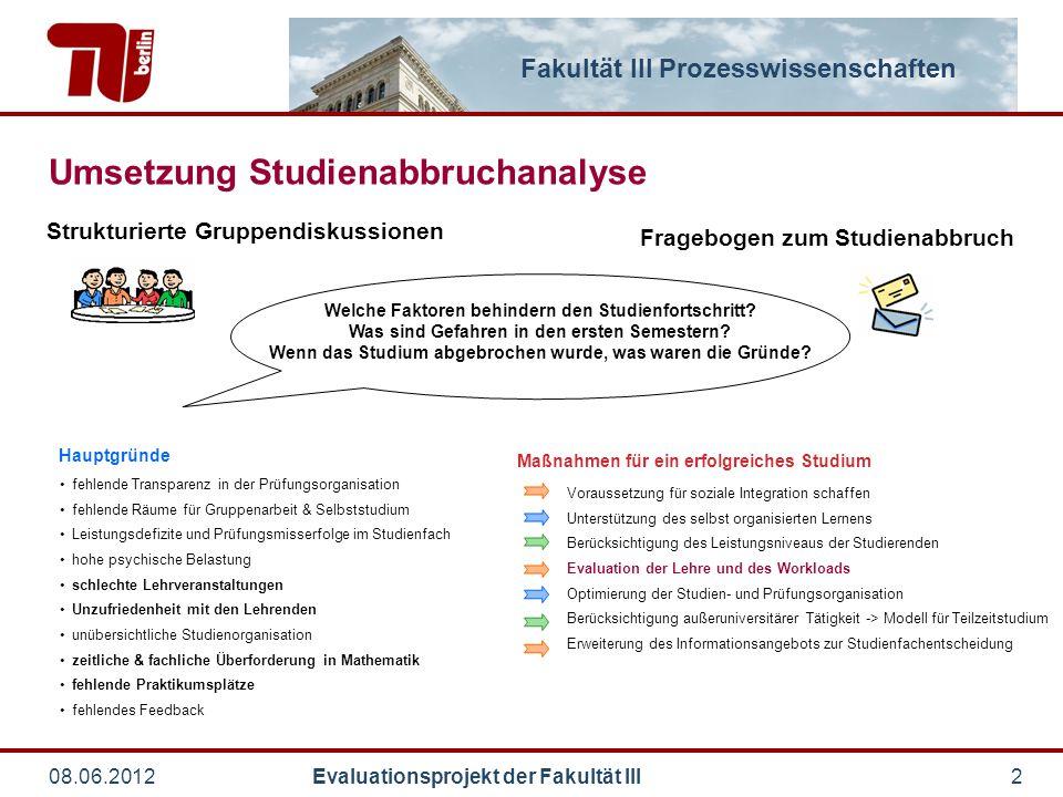Fakultät III Prozesswissenschaften 08.06.2012 Evaluationsprojekt der Fakultät III2 Strukturierte Gruppendiskussionen fehlende Transparenz in der Prüfu