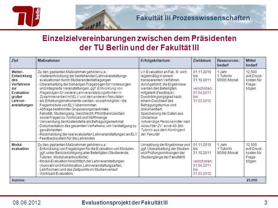 Fakultät III Prozesswissenschaften 08.06.2012 Evaluationsprojekt der Fakultät III3 Einzelzielvereinbarungen zwischen dem Präsidenten der TU Berlin und