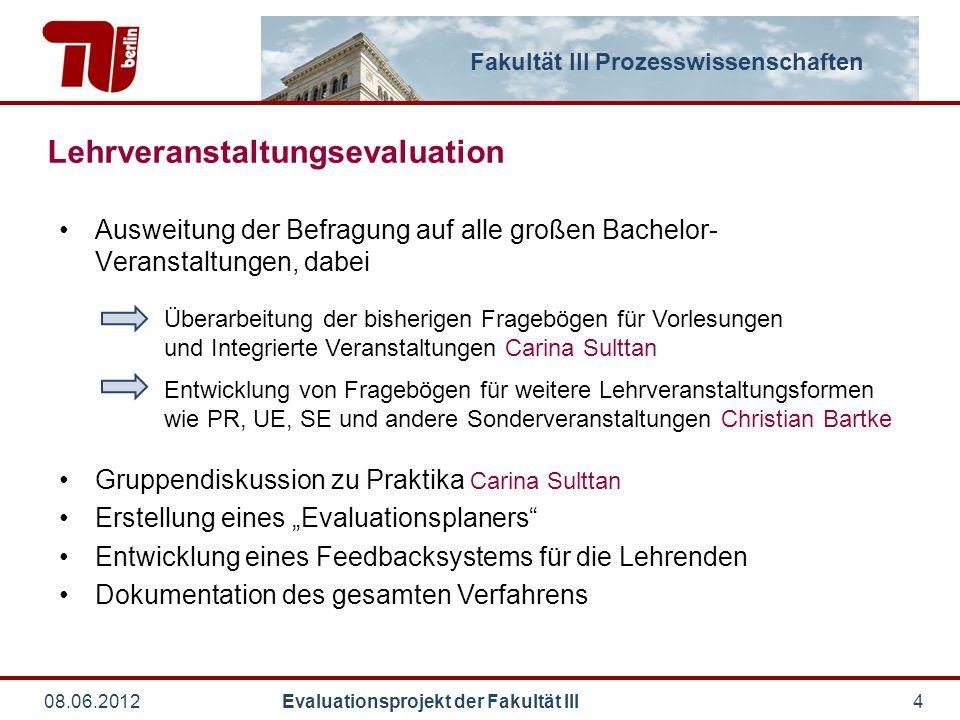 Fakultät III Prozesswissenschaften 08.06.2012 Evaluationsprojekt der Fakultät III5 Update über Evaluations-Status Evaluierte Lehrveranstaltungen SoSe 2011 WiSe 2011/12 SoSe 2012 Anzahl35 (33)53 (49)ca.