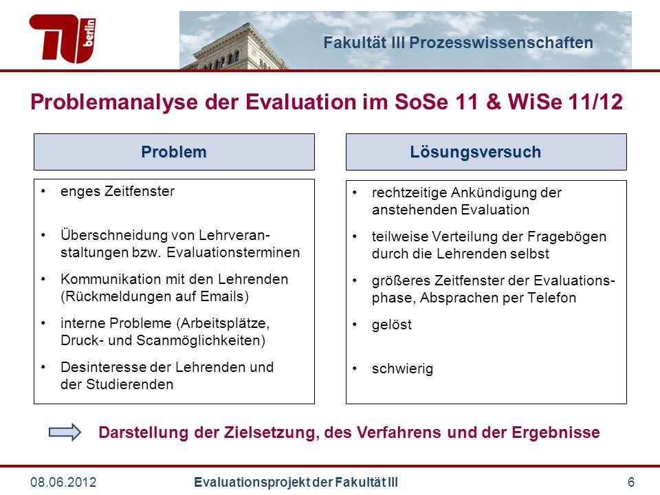 Fakultät III Prozesswissenschaften 08.06.2012 Evaluationsprojekt der Fakultät III6 enges Zeitfenster Überschneidung von Lehrveran- staltungen bzw. Eva