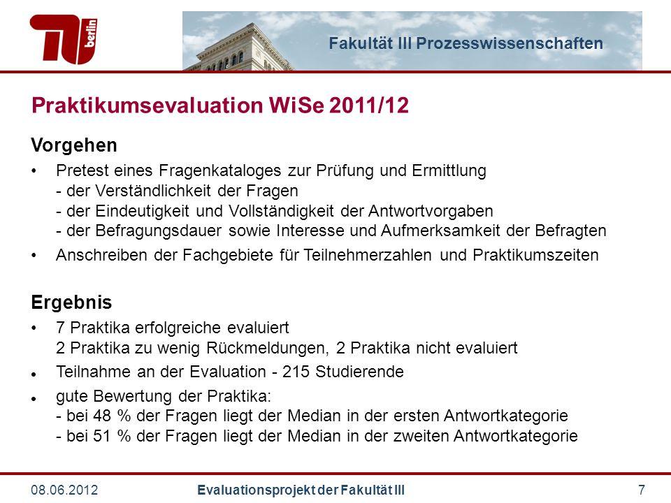 Fakultät III Prozesswissenschaften 08.06.2012 Evaluationsprojekt der Fakultät III7 Praktikumsevaluation WiSe 2011/12 Vorgehen Pretest eines Fragenkata