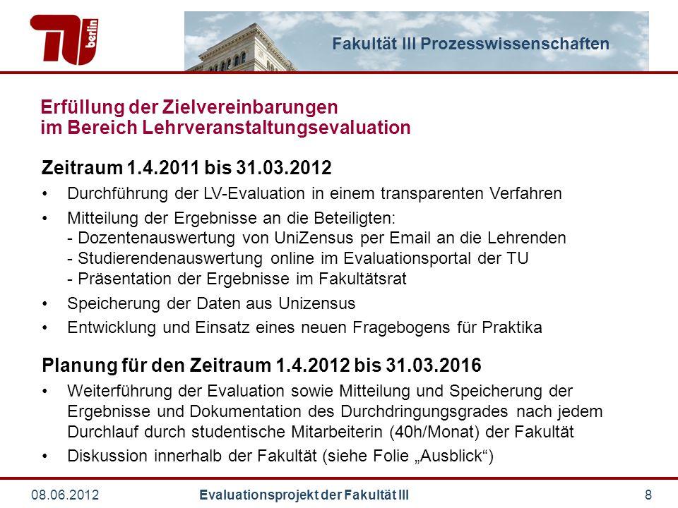 Fakultät III Prozesswissenschaften 08.06.2012 Evaluationsprojekt der Fakultät III8 Zeitraum 1.4.2011 bis 31.03.2012 Durchführung der LV-Evaluation in