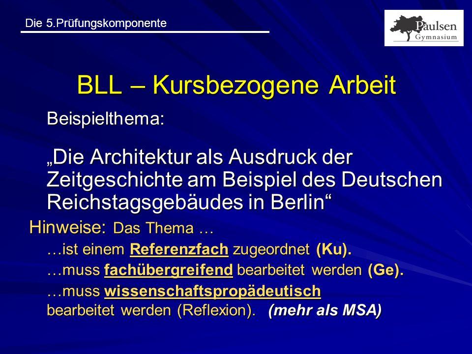"""Die 5.Prüfungskomponente BLL – Kursbezogene Arbeit Beispielthema: """" Die Architektur als Ausdruck der Zeitgeschichte am Beispiel des Deutschen Reichsta"""