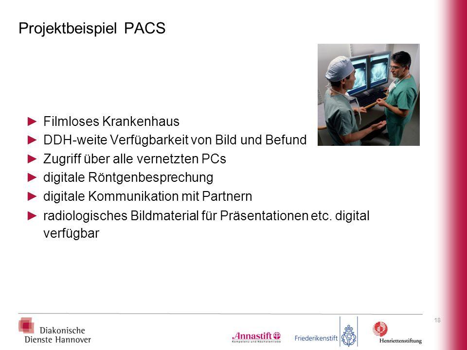 Projektbeispiel PACS ►Filmloses Krankenhaus ►DDH-weite Verfügbarkeit von Bild und Befund ►Zugriff über alle vernetzten PCs ►digitale Röntgenbesprechun