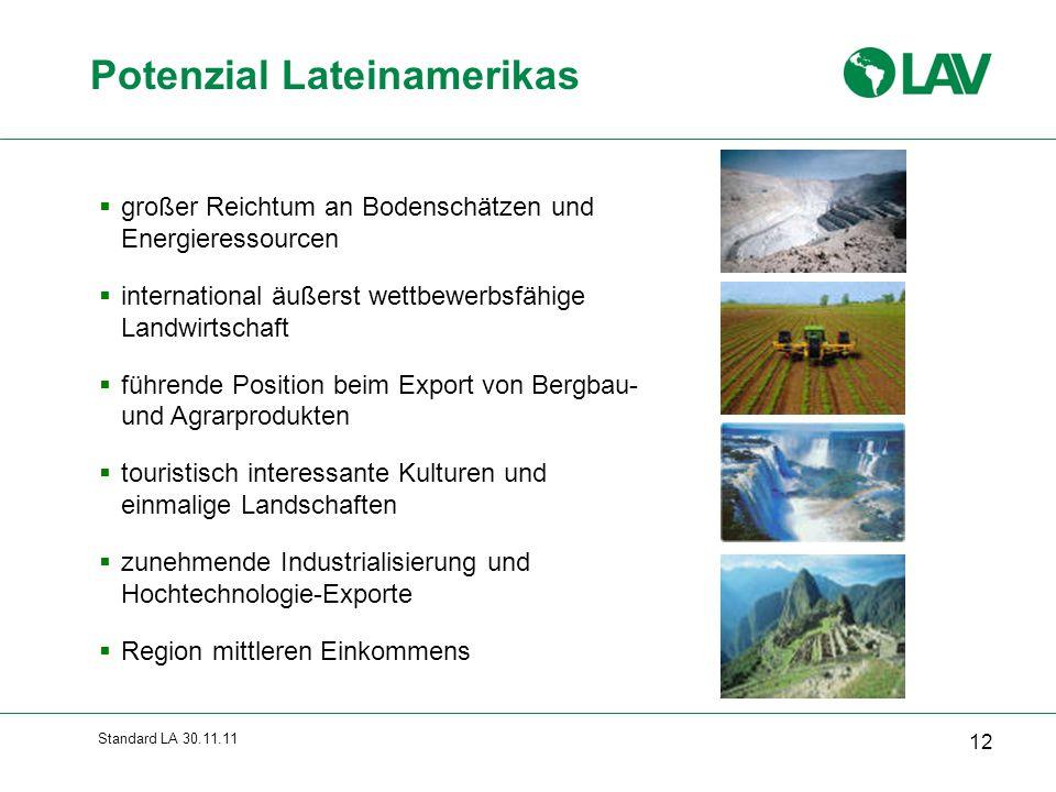 Standard LA 30.11.11  großer Reichtum an Bodenschätzen und Energieressourcen  international äußerst wettbewerbsfähige Landwirtschaft  führende Posi