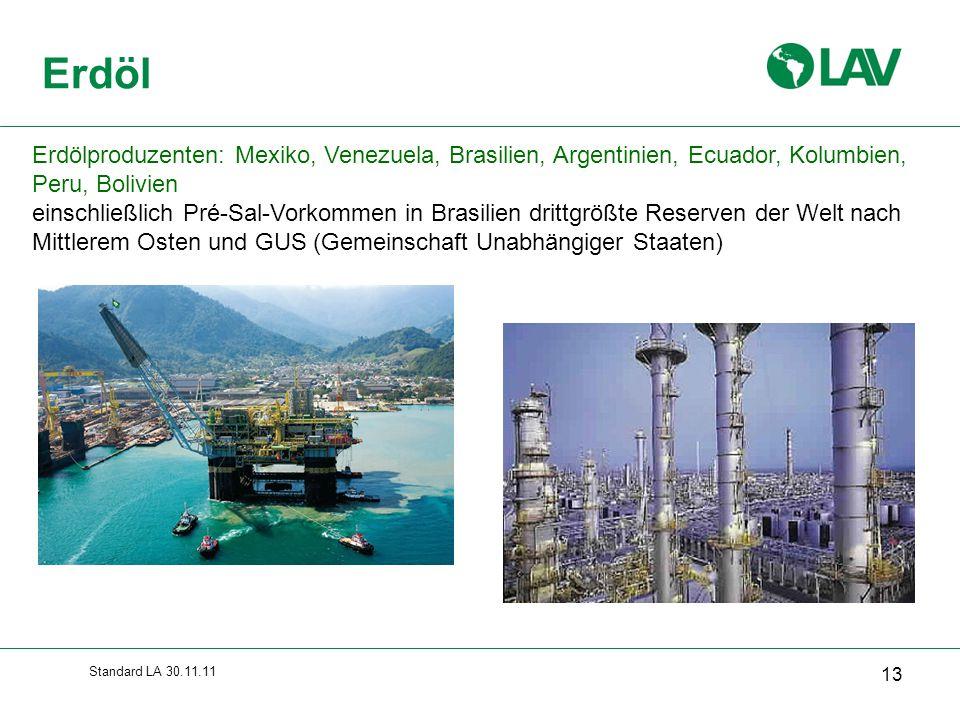 Standard LA 30.11.11 Erdöl 13 Erdölproduzenten: Mexiko, Venezuela, Brasilien, Argentinien, Ecuador, Kolumbien, Peru, Bolivien einschließlich Pré-Sal-V