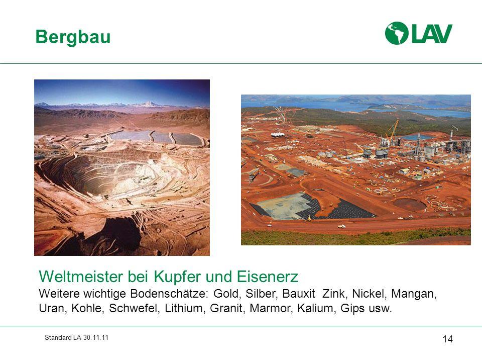 Standard LA 30.11.11 Bergbau 14 Weltmeister bei Kupfer und Eisenerz Weitere wichtige Bodenschätze: Gold, Silber, Bauxit Zink, Nickel, Mangan, Uran, Ko