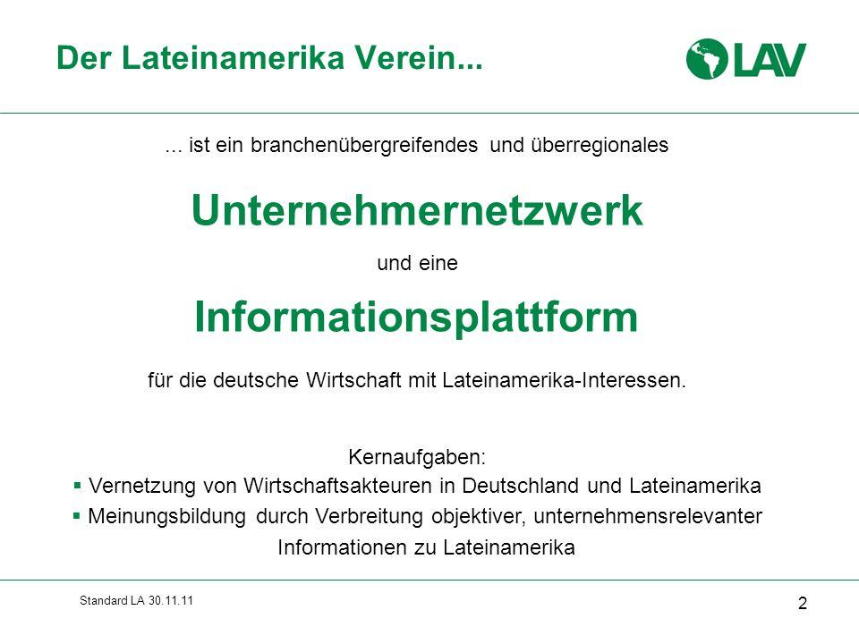 Standard LA 30.11.11... ist ein branchenübergreifendes und überregionales Unternehmernetzwerk und eine Informationsplattform für die deutsche Wirtscha