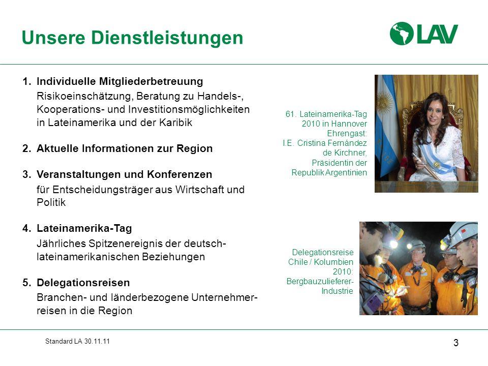 Standard LA 30.11.11 Unsere Dienstleistungen 61. Lateinamerika-Tag 2010 in Hannover Ehrengast: I.E. Cristina Fernández de Kirchner, Präsidentin der Re