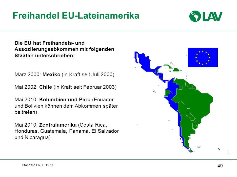 Standard LA 30.11.11 Freihandel EU-Lateinamerika 49 Die EU hat Freihandels- und Assoziierungsabkommen mit folgenden Staaten unterschrieben: März 2000: