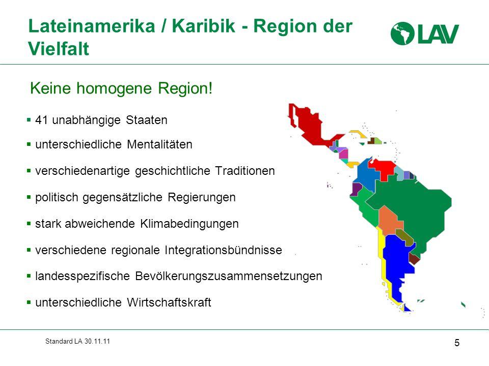 Standard LA 30.11.11 Leichtigkeit von Geschäftsabschlüssen 2011 36 Quelle: IFC / World Bank Ranking von 18 lateinamerikanischen Staaten in einer Liste von 183 Ländern (zum Vergleich: Deutschland 22)