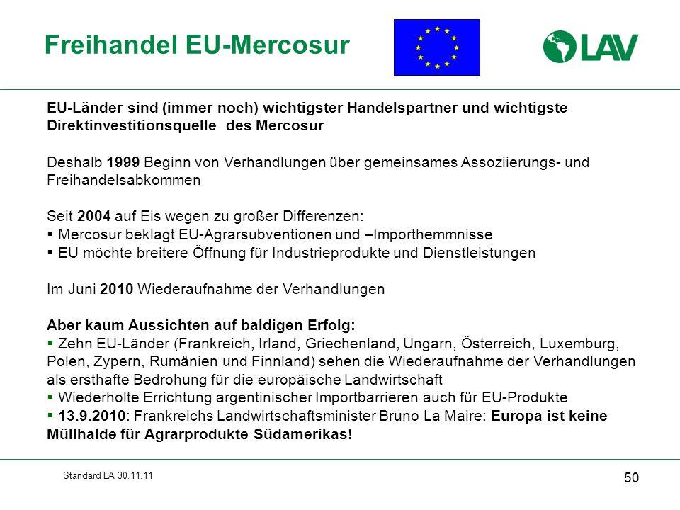 Standard LA 30.11.11 Freihandel EU-Mercosur 50 EU-Länder sind (immer noch) wichtigster Handelspartner und wichtigste Direktinvestitionsquelle des Merc