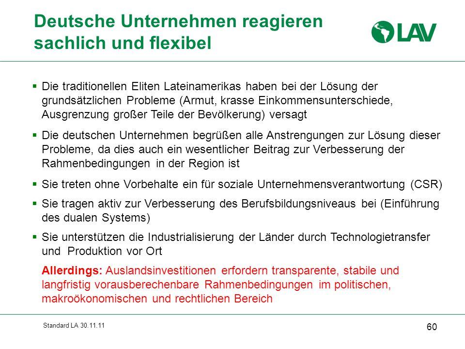 Standard LA 30.11.11 Deutsche Unternehmen reagieren sachlich und flexibel  Die traditionellen Eliten Lateinamerikas haben bei der Lösung der grundsät