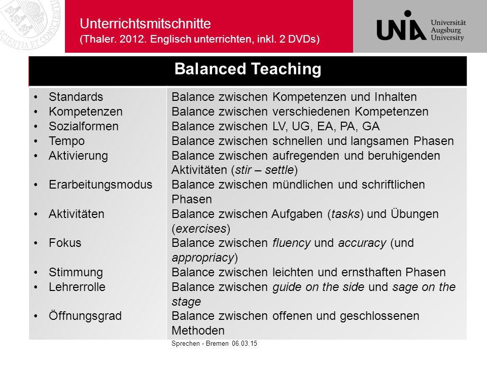 Unterrichtsmitschnitte (Thaler. 2012. Englisch unterrichten, inkl. 2 DVDs) Sprechen - Bremen 06.03.15 Balanced Teaching Standards Kompetenzen Sozialfo