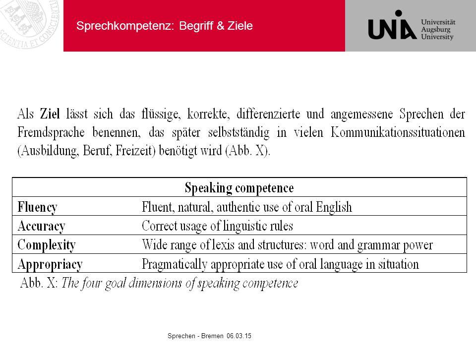 Sprechkompetenz: Begriff & Ziele Sprechen - Bremen 06.03.15