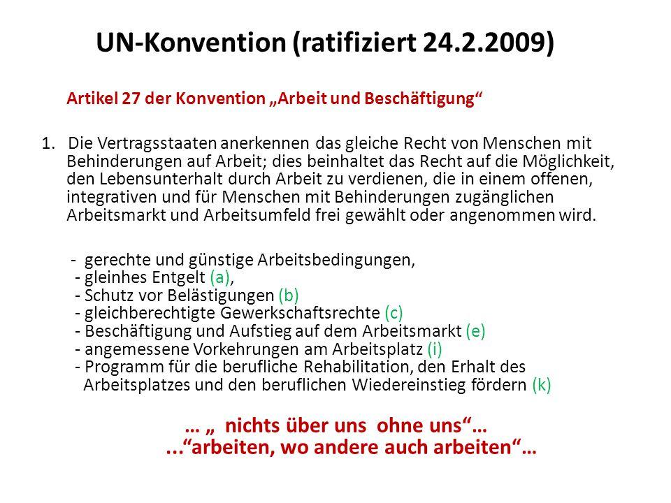 """UN-Konvention (ratifiziert 24.2.2009) Artikel 27 der Konvention """"Arbeit und Beschäftigung 1."""