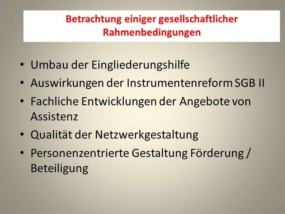 Betrachtung einiger gesellschaftlicher Rahmenbedingungen Umbau der Eingliederungshilfe Auswirkungen der Instrumentenreform SGB II Fachliche Entwicklungen der Angebote von Assistenz Qualität der Netzwerkgestaltung Personenzentrierte Gestaltung Förderung / Beteiligung