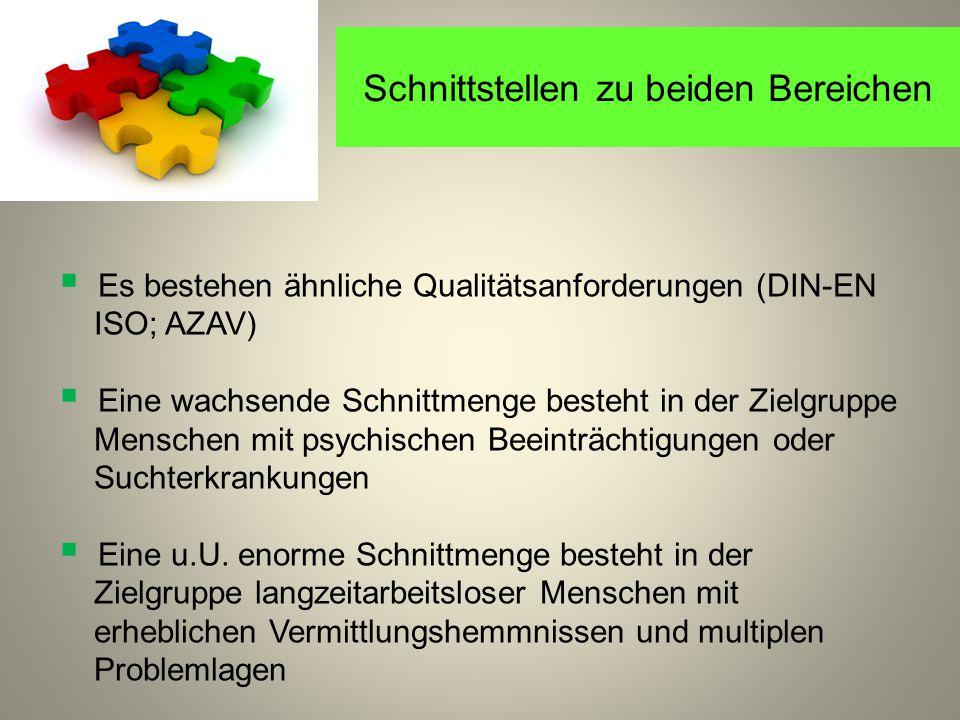 Schnittstellen zu beiden Bereichen  Es bestehen ähnliche Qualitätsanforderungen (DIN-EN ISO; AZAV)  Eine wachsende Schnittmenge besteht in der Zielgruppe Menschen mit psychischen Beeinträchtigungen oder Suchterkrankungen  Eine u.U.
