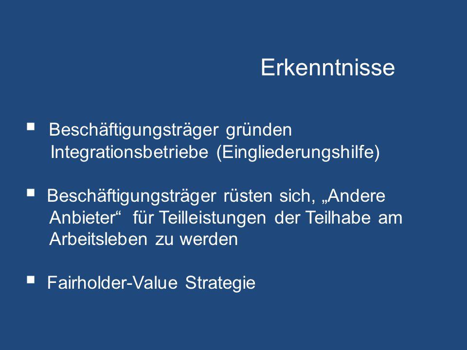 """ Beschäftigungsträger gründen Integrationsbetriebe (Eingliederungshilfe)  Beschäftigungsträger rüsten sich, """"Andere Anbieter für Teilleistungen der Teilhabe am Arbeitsleben zu werden  Fairholder-Value Strategie Erkenntnisse"""
