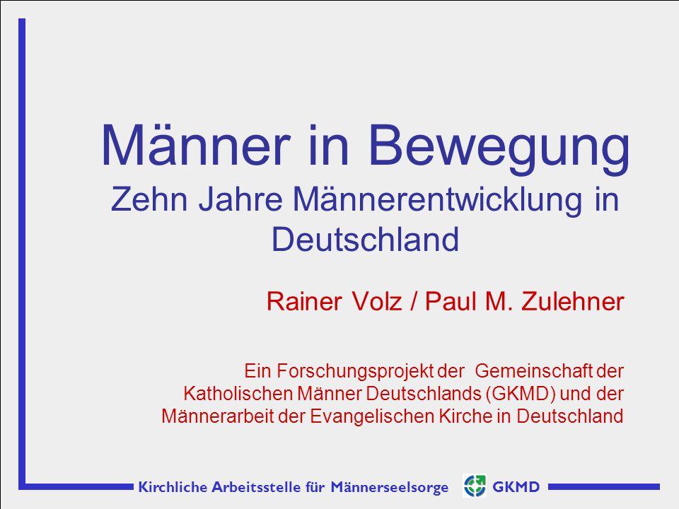 Kirchliche Arbeitsstelle für Männerseelsorge GKMD Rainer Volz / Paul M. Zulehner Ein Forschungsprojekt der Gemeinschaft der Katholischen Männer Deutsc