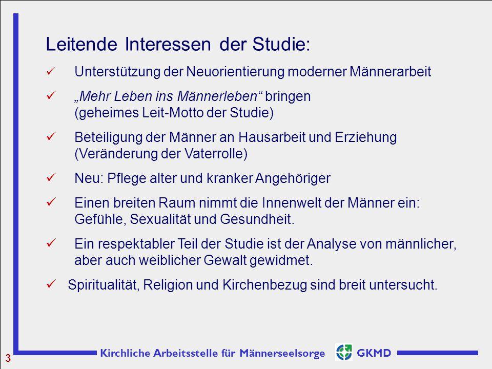 """Kirchliche Arbeitsstelle für Männerseelsorge GKMD 3 Leitende Interessen der Studie: Unterstützung der Neuorientierung moderner Männerarbeit """"Mehr Lebe"""