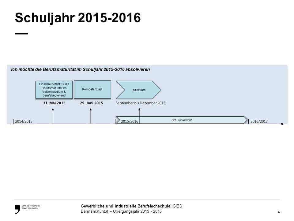 4 Gewerbliche und Industrielle Berufsfachschule GIBS Berufsmaturität – Übergangsjahr 2015 - 2016 Schuljahr 2015-2016 —