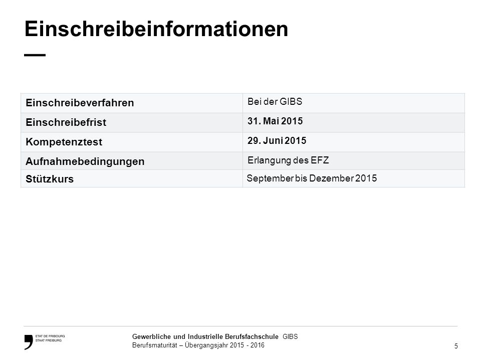 5 Gewerbliche und Industrielle Berufsfachschule GIBS Berufsmaturität – Übergangsjahr 2015 - 2016 Einschreibeinformationen — Einschreibeverfahren Bei d