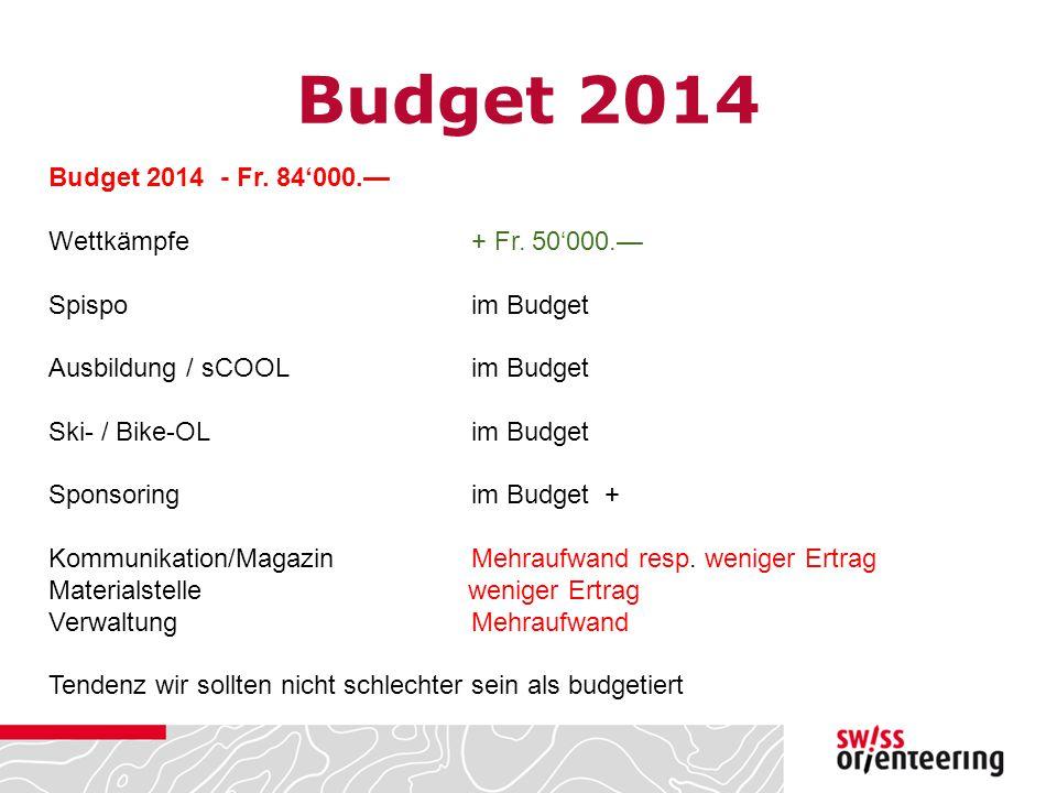 Budget 2014 Budget 2014 - Fr. 84'000.— Wettkämpfe + Fr. 50'000.— Spispoim Budget Ausbildung / sCOOL im Budget Ski- / Bike-OL im Budget Sponsoring im B