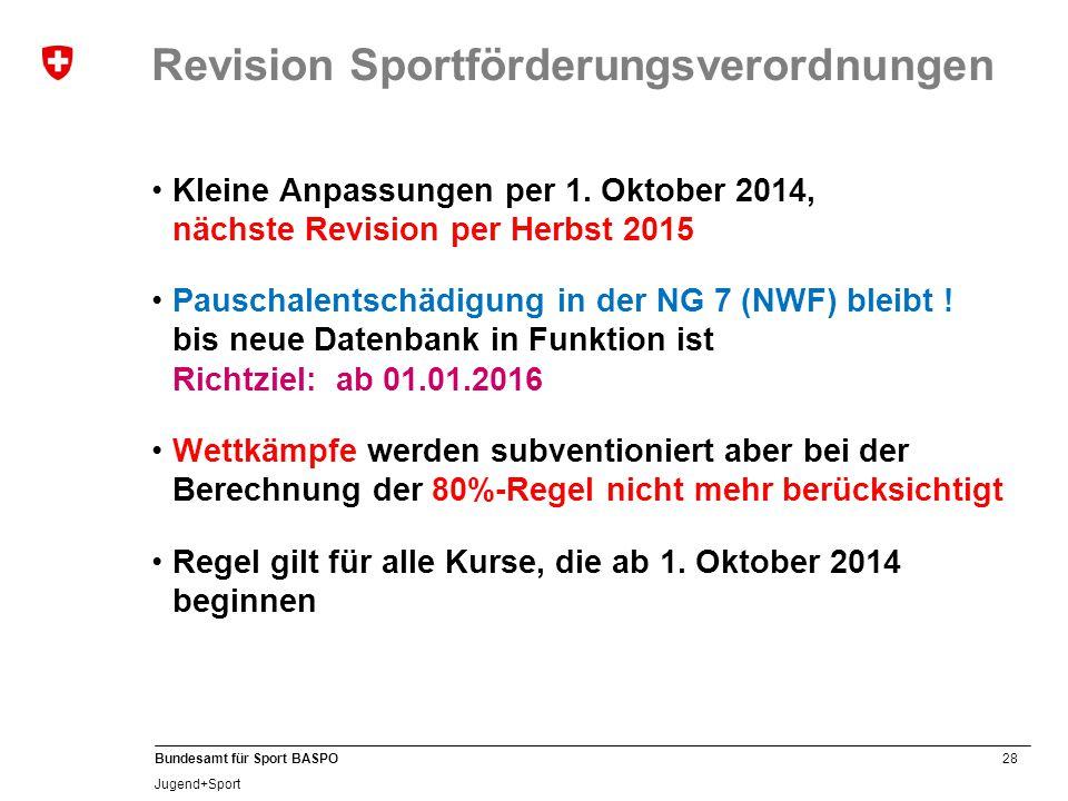 28 Bundesamt für Sport BASPO Jugend+Sport Revision Sportförderungsverordnungen Kleine Anpassungen per 1. Oktober 2014, nächste Revision per Herbst 201