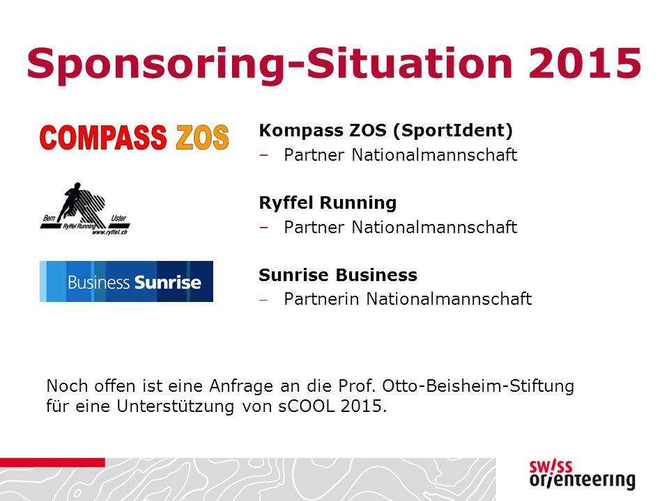 Sponsoring-Situation 2015 Kompass ZOS (SportIdent) –Partner Nationalmannschaft Ryffel Running –Partner Nationalmannschaft Sunrise Business Partnerin Nationalmannschaft Noch offen ist eine Anfrage an die Prof.