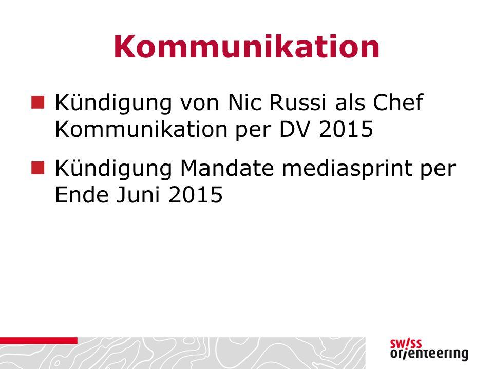 Kommunikation Kündigung von Nic Russi als Chef Kommunikation per DV 2015 Kündigung Mandate mediasprint per Ende Juni 2015