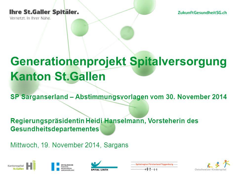 Generationenprojekt Spitalversorgung Kanton St.Gallen SP Sarganserland – Abstimmungsvorlagen vom 30. November 2014 Regierungspräsidentin Heidi Hanselm