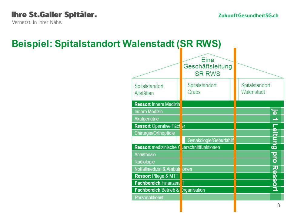 8 Beispiel: Spitalstandort Walenstadt (SR RWS) Informatik Radiologie Onkologie Schlaganfall Diabetes Rettung St.Gallen Viszeralchirurgie Ressort Inner