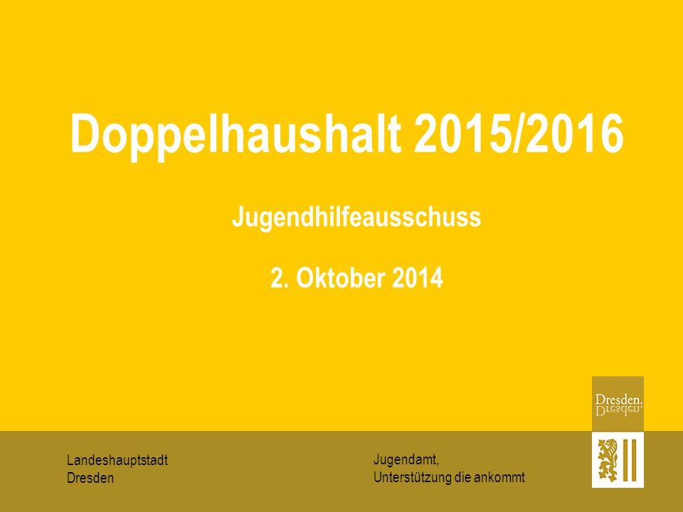 Landeshauptstadt Dresden Jugendamt, Unterstützung die ankommt Jugendhilfeausschuss 2. Oktober 2014 Doppelhaushalt 2015/2016