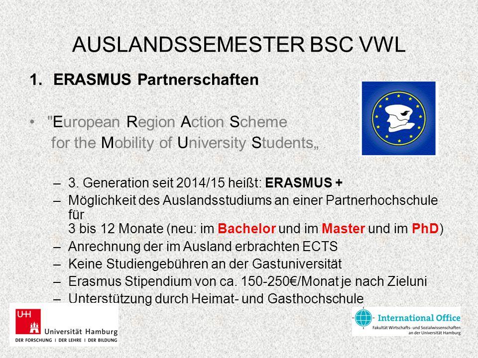AUSLANDSSEMESTER BSC VWL 1.ERASMUS Partnerschaften