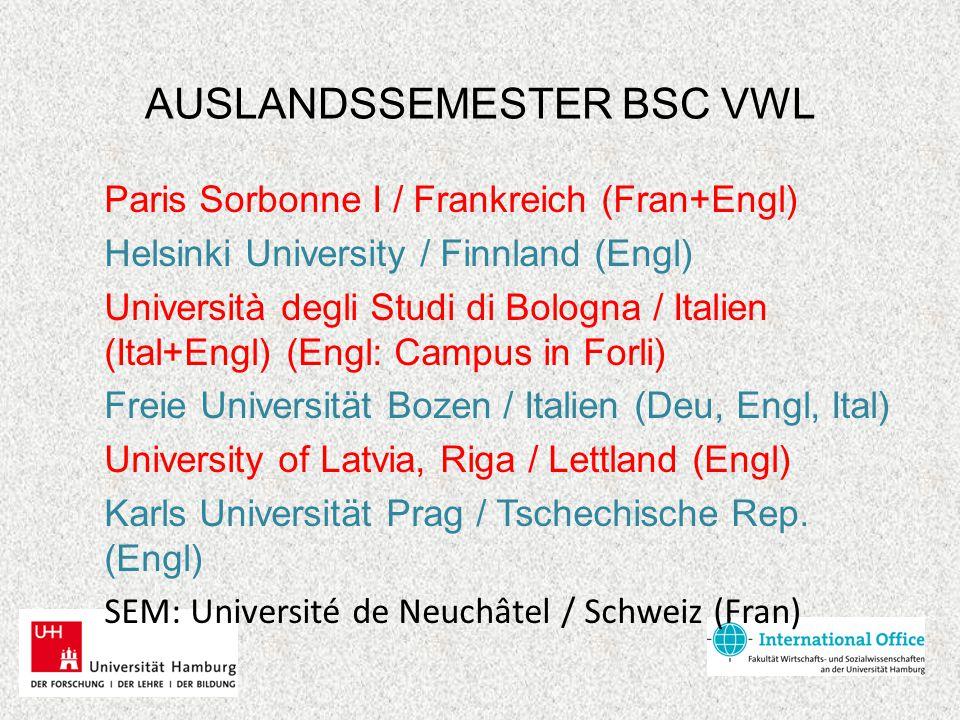 AUSLANDSSEMESTER BSC VWL Paris Sorbonne I / Frankreich (Fran+Engl) Helsinki University / Finnland (Engl) Università degli Studi di Bologna / Italien (