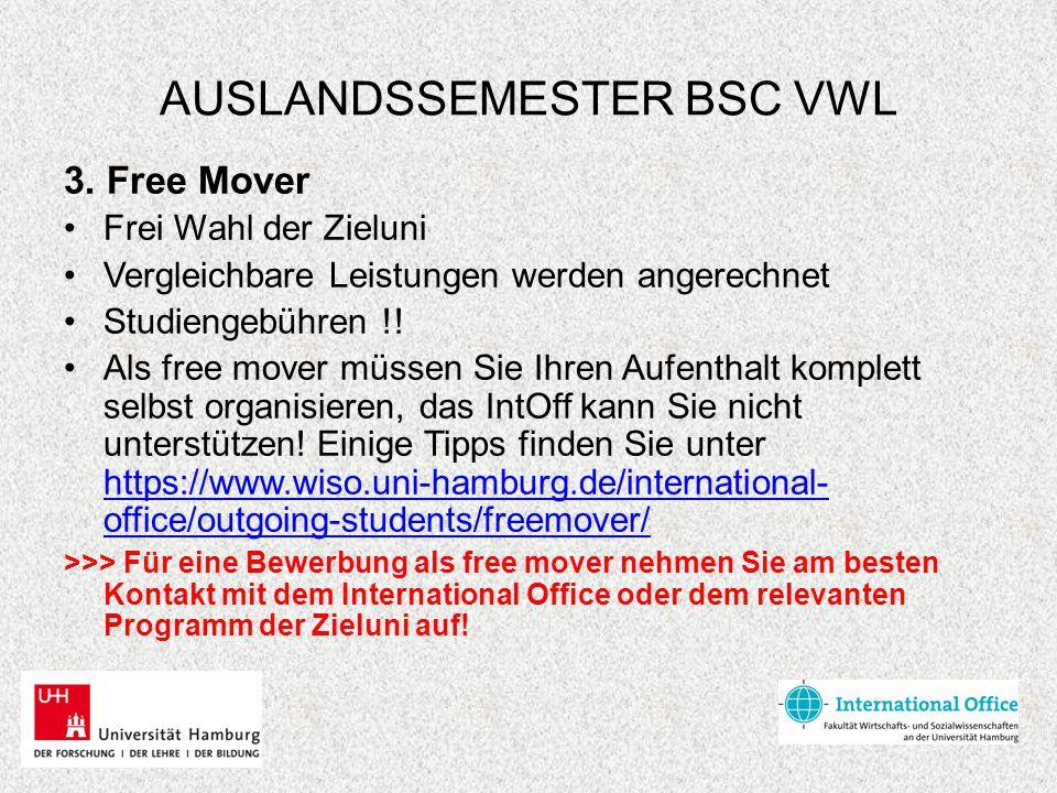AUSLANDSSEMESTER BSC VWL 3. Free Mover Frei Wahl der Zieluni Vergleichbare Leistungen werden angerechnet Studiengebühren !! Als free mover müssen Sie
