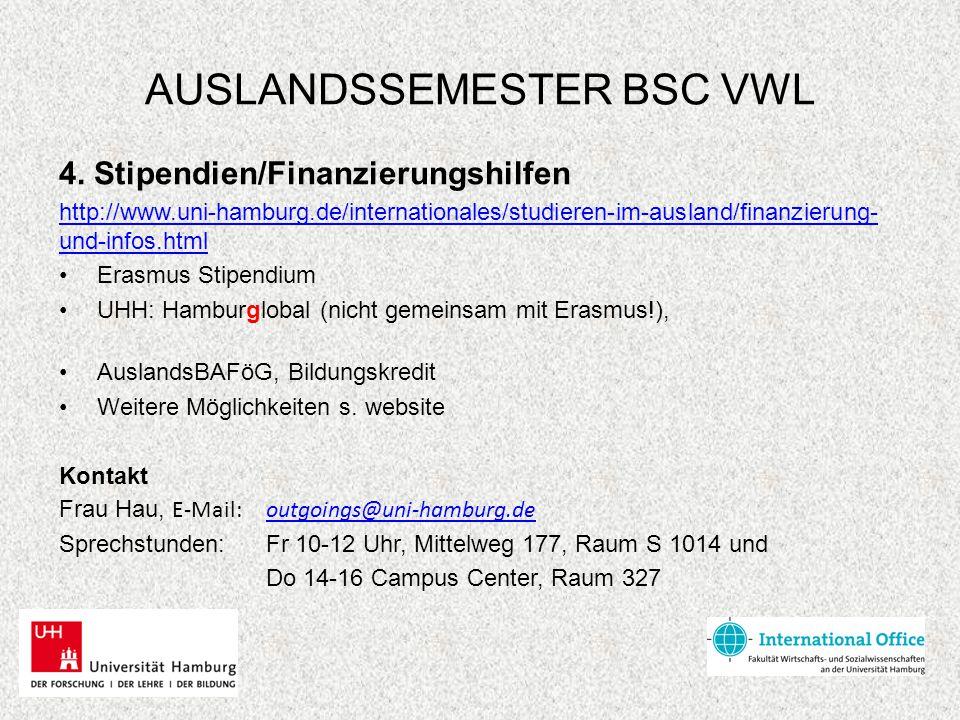AUSLANDSSEMESTER BSC VWL 4. Stipendien/Finanzierungshilfen http://www.uni-hamburg.de/internationales/studieren-im-ausland/finanzierung- und-infos.html