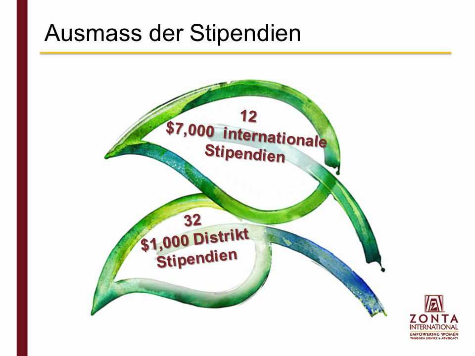 Ausmass der Stipendien 32 $1,000 Distrikt Stipendien 12 $7,000 internationale Stipendien