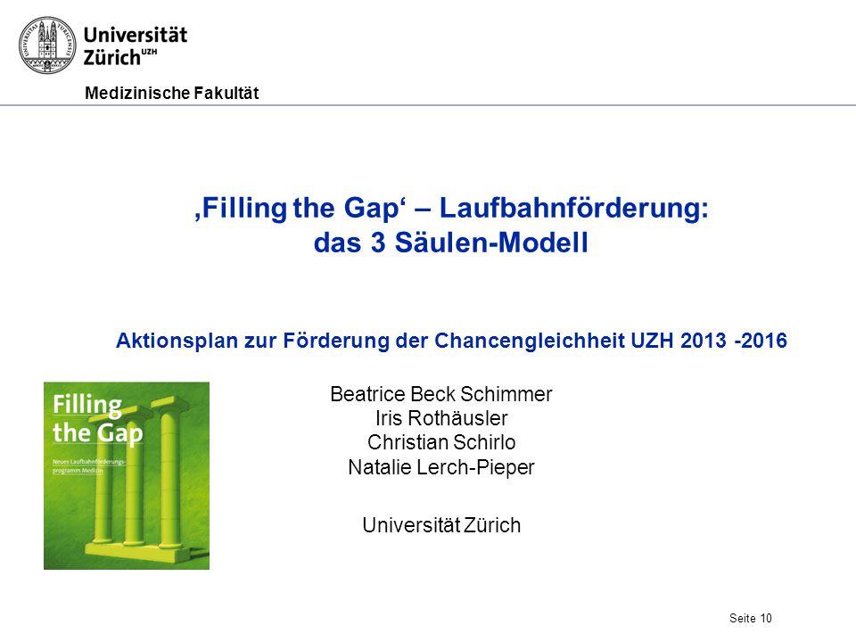 Medizinische Fakultät Seite 10 'Filling the Gap' – Laufbahnförderung: das 3 Säulen-Modell Aktionsplan zur Förderung der Chancengleichheit UZH 2013 -20