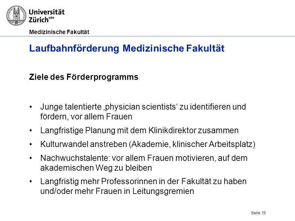 Medizinische Fakultät Seite 15 Laufbahnförderung Medizinische Fakultät Ziele des Förderprogramms Junge talentierte 'physician scientists' zu identifie