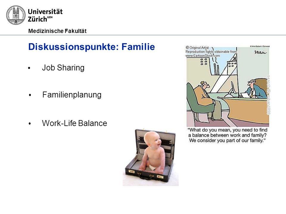 Medizinische Fakultät Diskussionspunkte: Familie Job Sharing Work-Life Balance Familienplanung