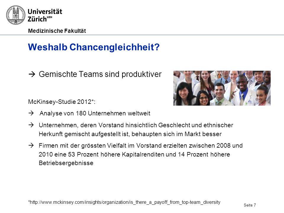 Medizinische Fakultät Seite 7 Weshalb Chancengleichheit?  Gemischte Teams sind produktiver McKinsey-Studie 2012*:  Analyse von 180 Unternehmen weltw