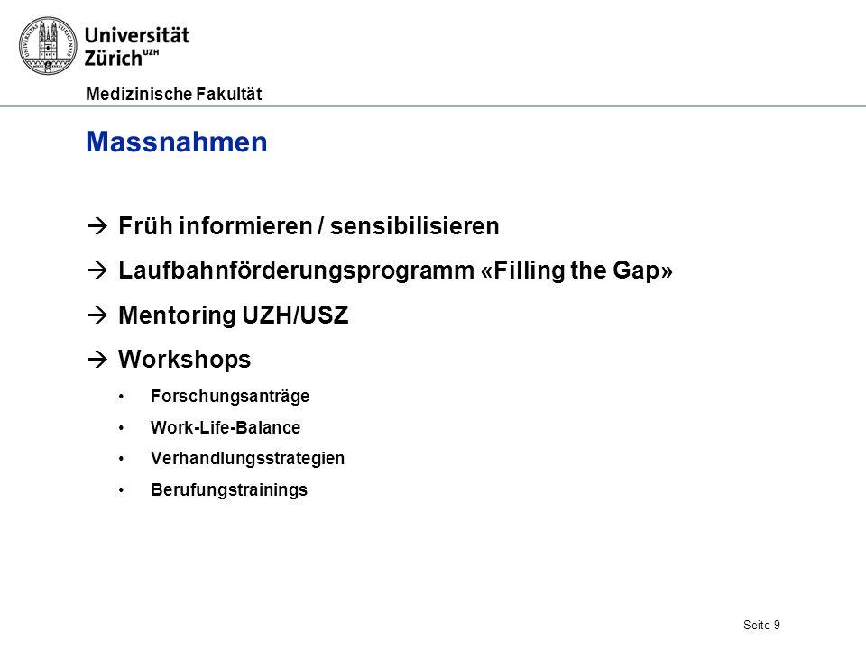 Medizinische Fakultät Seite 9 Massnahmen  Früh informieren / sensibilisieren  Laufbahnförderungsprogramm «Filling the Gap»  Mentoring UZH/USZ  Wor