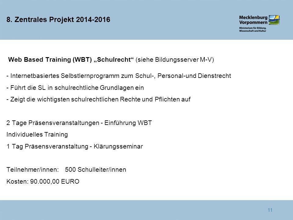 """8. Zentrales Projekt 2014-2016 Web Based Training (WBT) """"Schulrecht"""" (siehe Bildungsserver M-V) - Internetbasiertes Selbstlernprogramm zum Schul-, Per"""