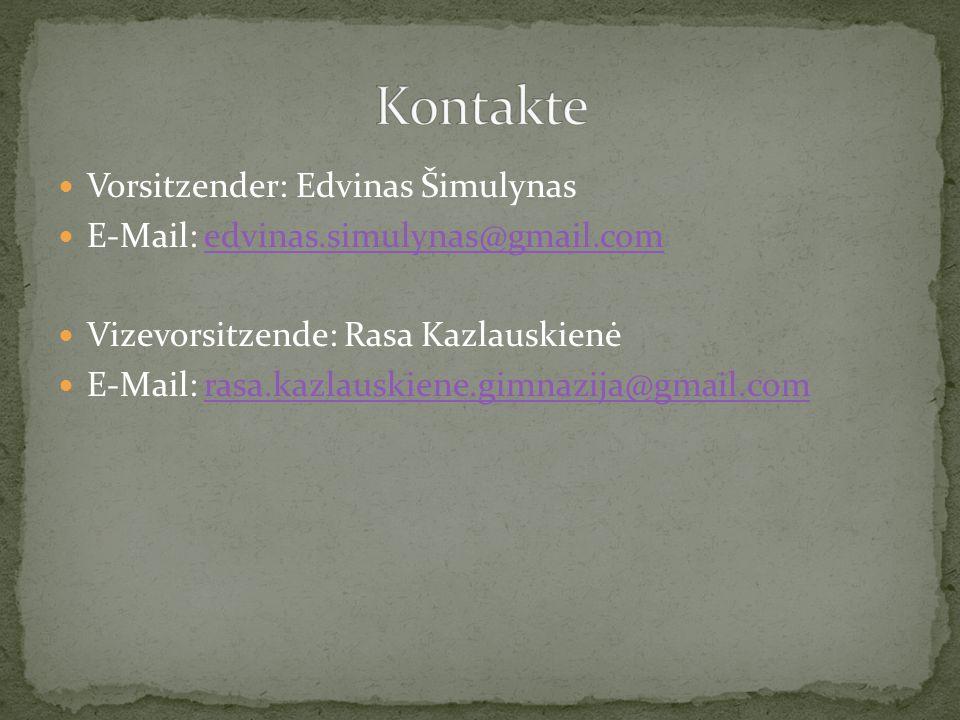 Vorsitzender: Edvinas Šimulynas E-Mail: edvinas.simulynas@gmail.comedvinas.simulynas@gmail.com Vizevorsitzende: Rasa Kazlauskienė E-Mail: rasa.kazlaus